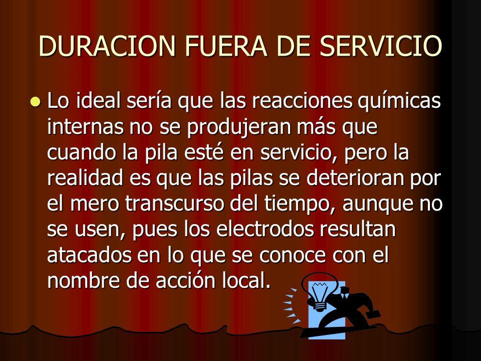 DURACION FUERA DE SERVICIO Lo ideal sería que las reacciones químicas internas no se produjeran más que cuando la pila esté en servicio, pero la reali
