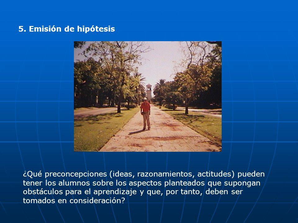 5. Emisión de hipótesis ¿Qué preconcepciones (ideas, razonamientos, actitudes) pueden tener los alumnos sobre los aspectos planteados que supongan obs