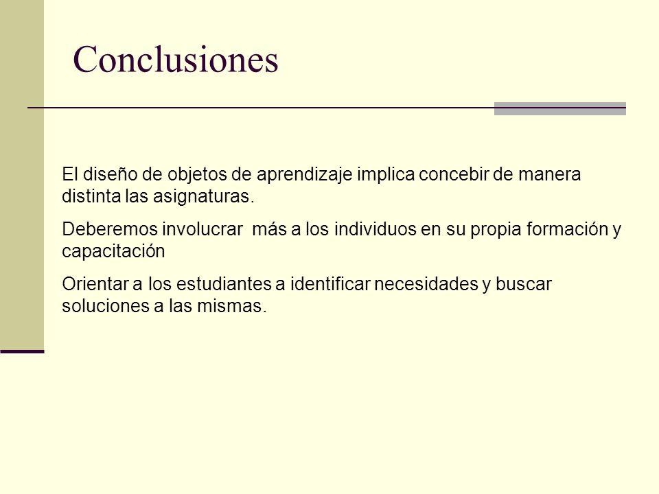 Conclusiones El diseño de objetos de aprendizaje implica concebir de manera distinta las asignaturas. Deberemos involucrar más a los individuos en su
