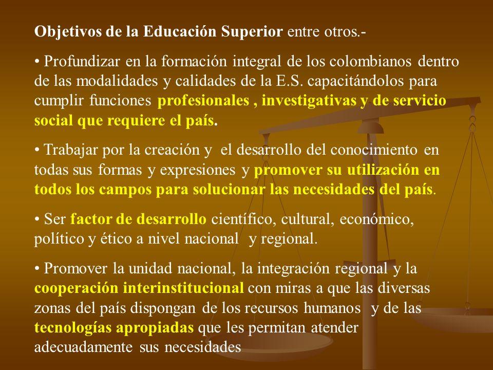 Objetivos de la Educación Superior entre otros.- Profundizar en la formación integral de los colombianos dentro de las modalidades y calidades de la E.S.