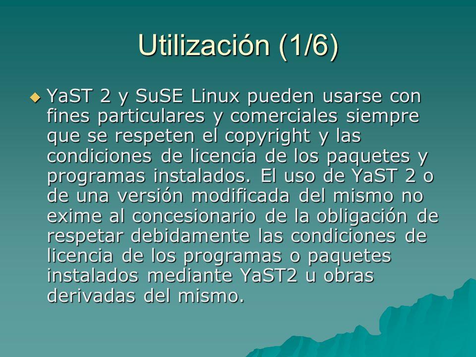 Transformación (2/6) Todos los programas y obras derivados total o parcialmente de YaST 2 han de incluir en su pantalla de bienvenida la mención explícita de versión modificada .