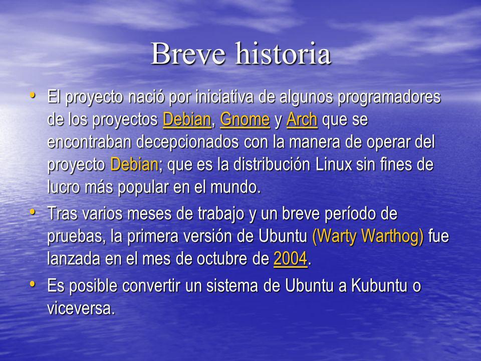 Breve historia El proyecto nació por iniciativa de algunos programadores de los proyectos Debian, Gnome y Arch que se encontraban decepcionados con la
