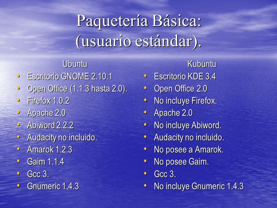 Paquetería Básica: (usuario estándar). Ubuntu Escritorio GNOME 2.10.1 Escritorio GNOME 2.10.1 Open Office (1.1.3 hasta 2.0). Open Office (1.1.3 hasta