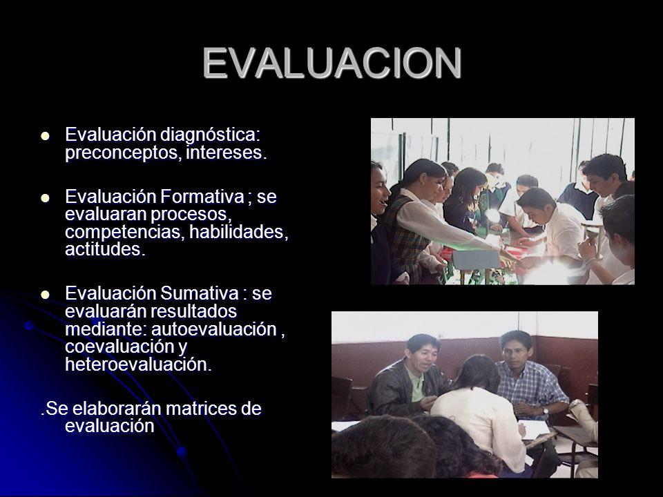 EVALUACION Evaluación diagnóstica: preconceptos, intereses. Evaluación diagnóstica: preconceptos, intereses. Evaluación Formativa ; se evaluaran proce