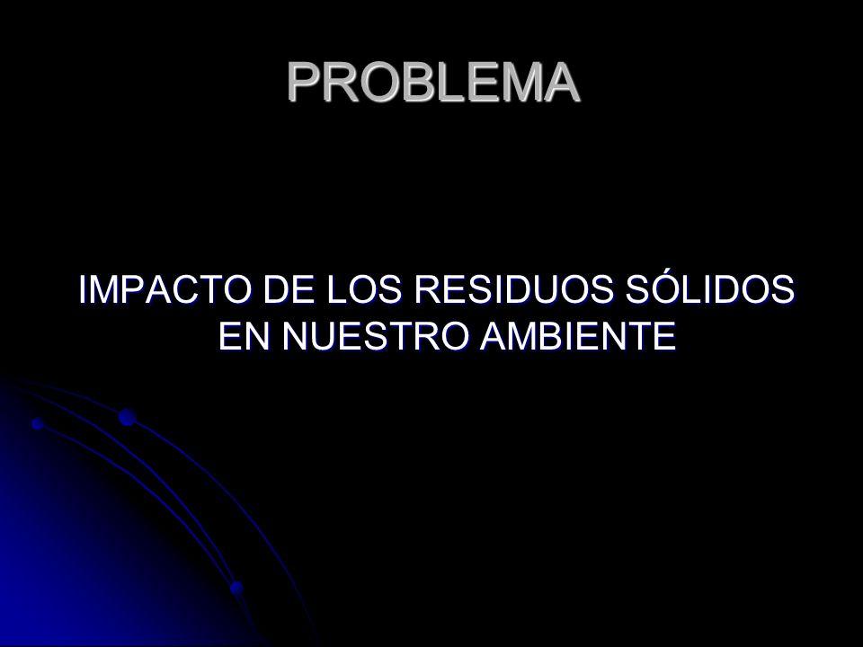 PROBLEMA IMPACTO DE LOS RESIDUOS SÓLIDOS EN NUESTRO AMBIENTE IMPACTO DE LOS RESIDUOS SÓLIDOS EN NUESTRO AMBIENTE