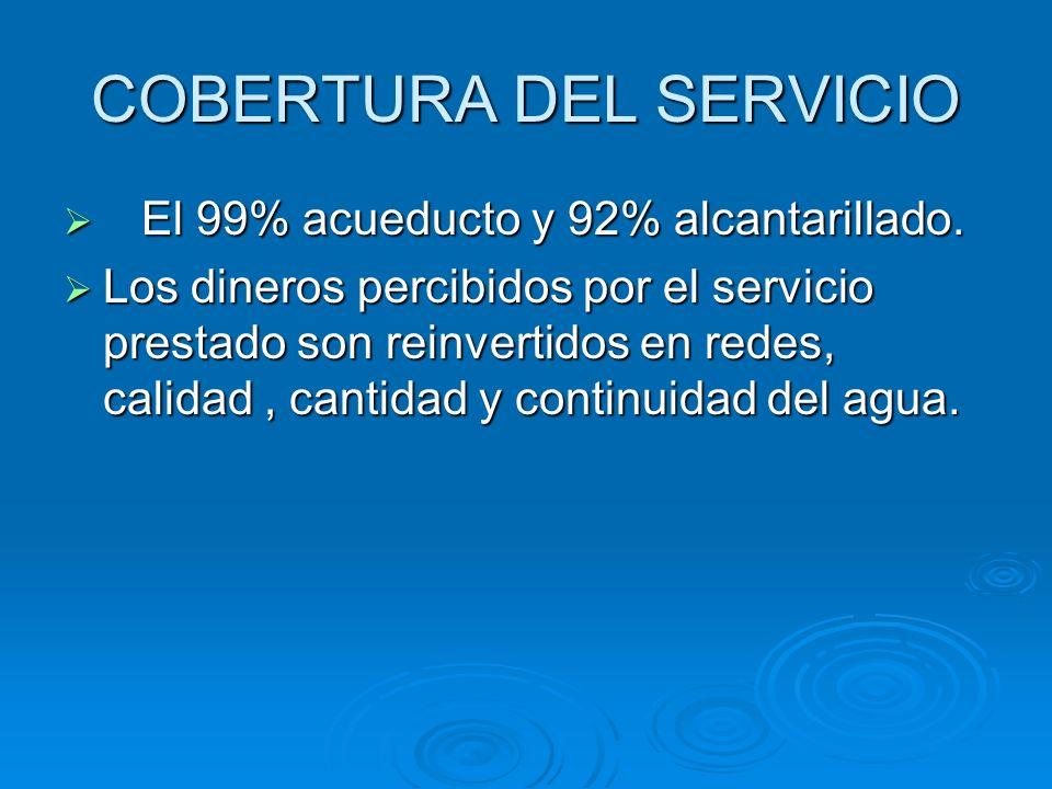COBERTURA DEL SERVICIO El 99% acueducto y 92% alcantarillado. El 99% acueducto y 92% alcantarillado. Los dineros percibidos por el servicio prestado s