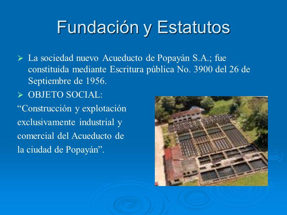 Fundación y Estatutos La sociedad nuevo Acueducto de Popayán S.A.; fue constituida mediante Escritura pública No. 3900 del 26 de Septiembre de 1956. O