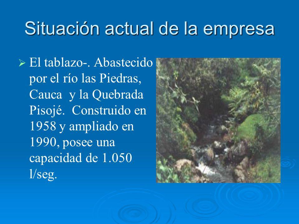 Situación actual de la empresa El tablazo-. Abastecido por el río las Piedras, Cauca y la Quebrada Pisojé. Construido en 1958 y ampliado en 1990, pose