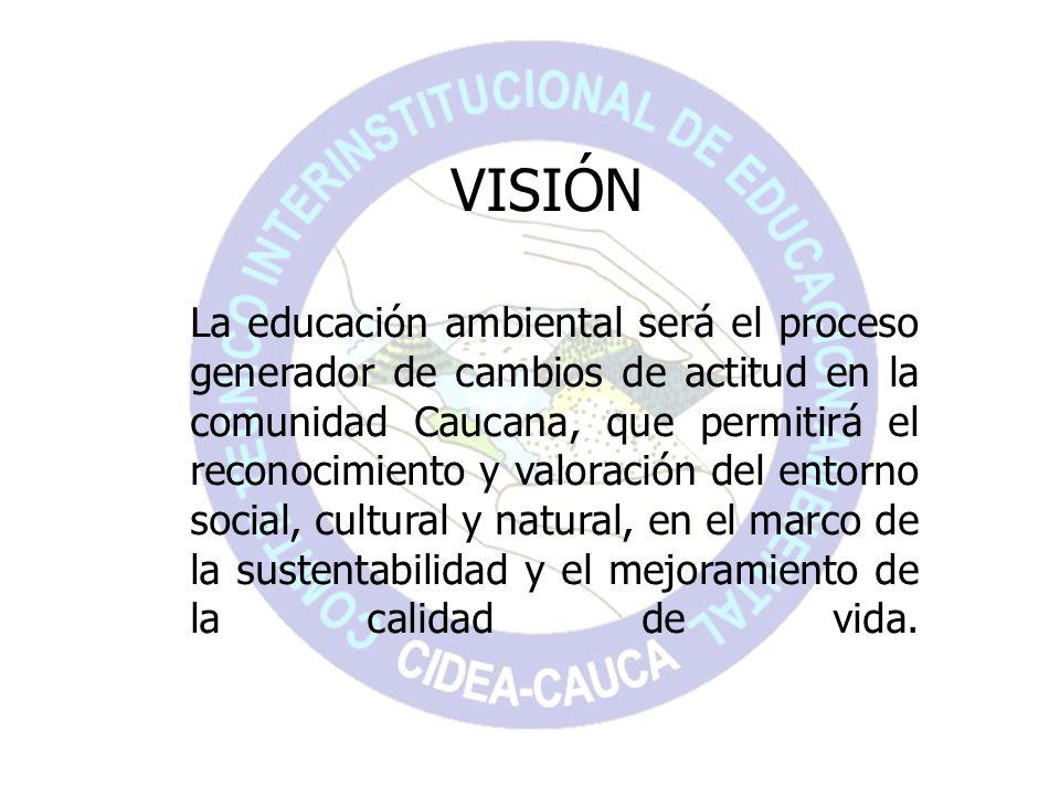 La educación ambiental será el proceso generador de cambios de actitud en la comunidad Caucana, que permitirá el reconocimiento y valoración del entor
