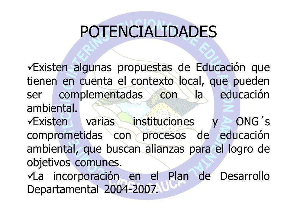 POTENCIALIDADES Existen algunas propuestas de Educación que tienen en cuenta el contexto local, que pueden ser complementadas con la educación ambient