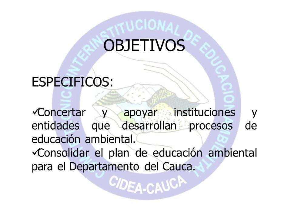 OBJETIVOS ESPECIFICOS: Concertar y apoyar instituciones y entidades que desarrollan procesos de educación ambiental. Consolidar el plan de educación a