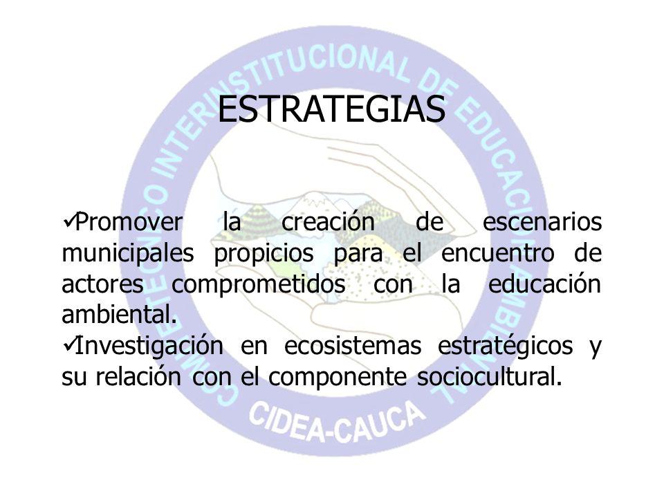 ESTRATEGIAS Promover la creación de escenarios municipales propicios para el encuentro de actores comprometidos con la educación ambiental. Investigac
