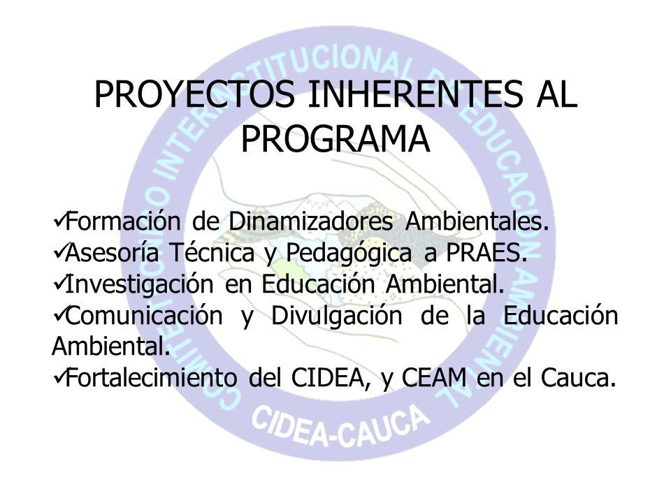 PROYECTOS INHERENTES AL PROGRAMA Formación de Dinamizadores Ambientales. Asesoría Técnica y Pedagógica a PRAES. Investigación en Educación Ambiental.