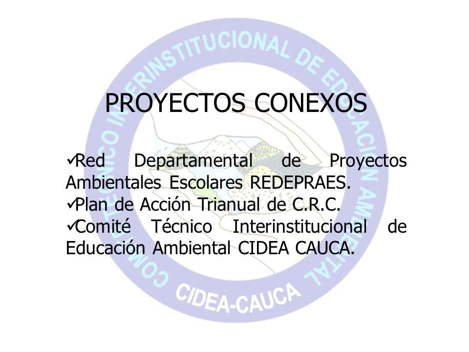 PROYECTOS CONEXOS Red Departamental de Proyectos Ambientales Escolares REDEPRAES. Plan de Acción Trianual de C.R.C. Comité Técnico Interinstitucional