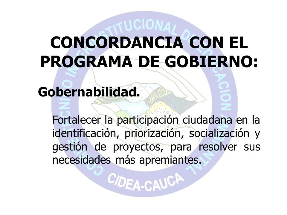 CONCORDANCIA CON EL PROGRAMA DE GOBIERNO: Gobernabilidad. Fortalecer la participación ciudadana en la identificación, priorización, socialización y ge