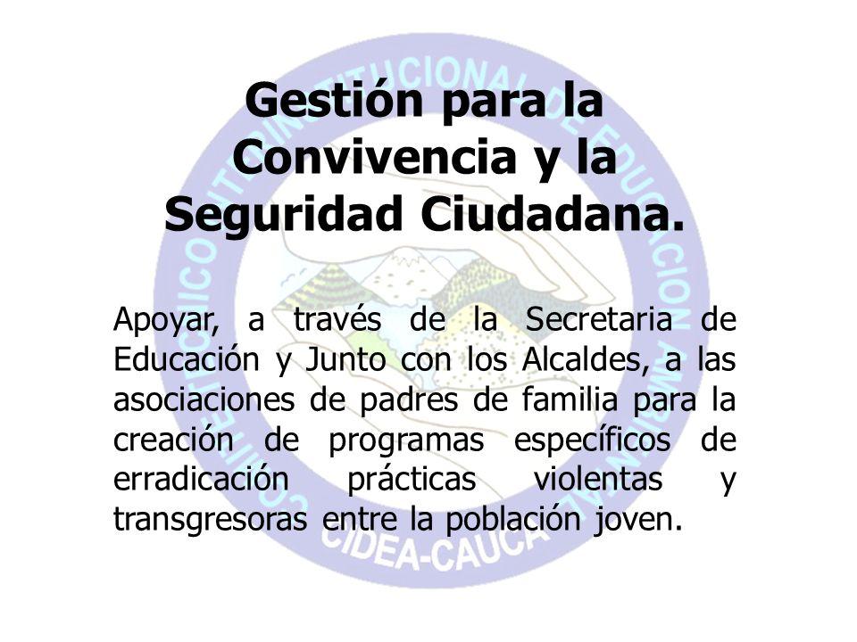 Gestión para la Convivencia y la Seguridad Ciudadana. Apoyar, a través de la Secretaria de Educación y Junto con los Alcaldes, a las asociaciones de p