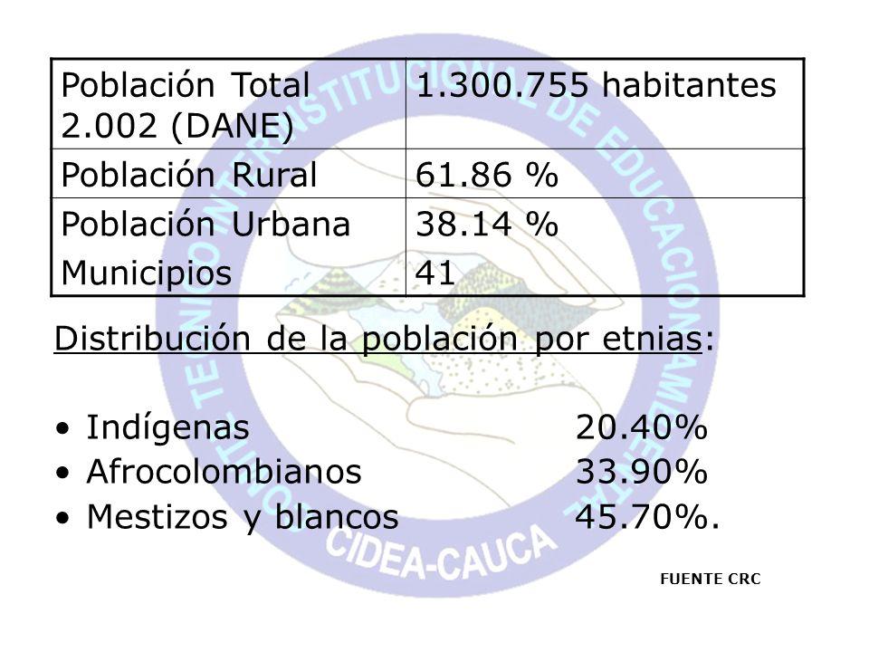 Población Total 2.002 (DANE) 1.300.755 habitantes Población Rural61.86 % Población Urbana Municipios 38.14 % 41 Distribución de la población por etnia
