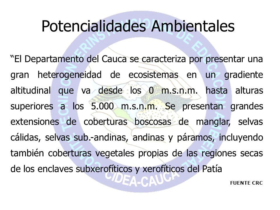Potencialidades Ambientales El Departamento del Cauca se caracteriza por presentar una gran heterogeneidad de ecosistemas en un gradiente altitudinal