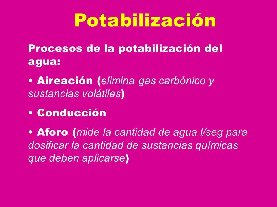 Potabilización Procesos de la potabilización del agua: Aireación ( elimina gas carbónico y sustancias volátiles ) Conducción Aforo ( mide la cantidad