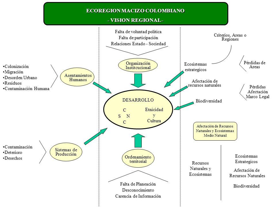 ECOREGION MACIZO COLOMBIANO - VISION REGIONAL - ColonizaciónColonización MigraciónMigración Desorden UrbanoDesorden Urbano ResiduosResiduos Contaminación HumanaContaminación Humana ContaminaciónContaminación DeterioroDeterioro DesechosDesechos Asentamientos Humanos Sistemas de Producción Falta de voluntad política Falta de participación Relaciones Estado - Sociedad Ordenamiento territorial Falta de Planeación Desconocimiento Carencia de Información DESARROLLO C S N CEtnicidadyCultura Ecosistemasestrategicos Afectación de recursos naturales Biodiversidad Criterios, Areas o Regiones Pérdidas de Areas PérdidasAfectación Marco Legal Afectación de Recursos Naturales y Ecosistemas Medio Natural Recursos Naturales y Ecosistemas EcosistemasEstrategicos Afectación de Recursos Naturales Biodiversidad Organización Institcucional