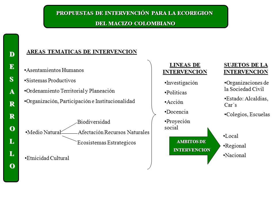 PROPUESTAS DE INTERVENCIÓN PARA LA ECOREGION DEL MACIZO COLOMBIANO DESARROLLO AREAS TEMATICAS DE INTERVENCION Asentamientos HumanosAsentamientos Humanos Sistemas ProductivosSistemas Productivos Ordenamiento Territorial y PlaneaciónOrdenamiento Territorial y Planeación Organización, Participación e InstitucionalidadOrganización, Participación e Institucionalidad Biodiversidad Biodiversidad Medio Natural Afectación Recursos NaturalesMedio Natural Afectación Recursos Naturales Ecosistemas Estrategicos Ecosistemas Estrategicos Etnicidad CulturalEtnicidad Cultural LINEAS DE INTERVENCION SUJETOS DE LA INTERVENCION InvestigaciónInvestigación PoliticasPoliticas AcciónAcción DocenciaDocencia Proyeción socialProyeción social Organizaciones de la Sociedad CivilOrganizaciones de la Sociedad Civil Estado: Alcaldias, Car´sEstado: Alcaldias, Car´s Colegios, EscuelasColegios, Escuelas LocalLocal RegionalRegional NacionalNacional AMBITOS DE INTERVENCION INTERVENCION