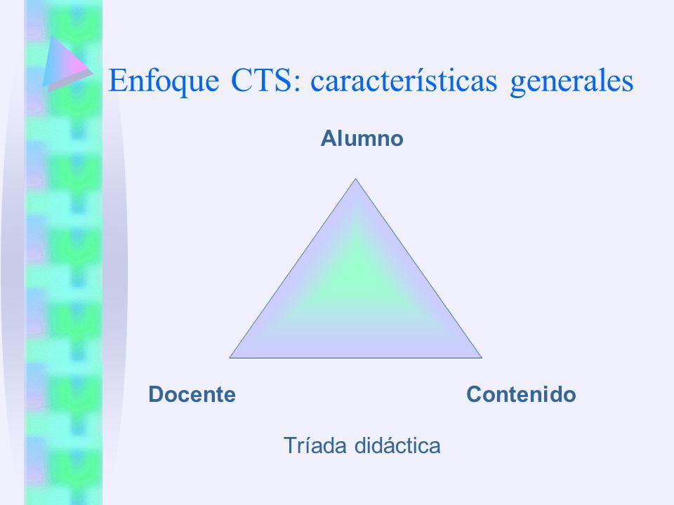 Enfoque CTS: características generales Alumno Docente Contenido Tríada didáctica