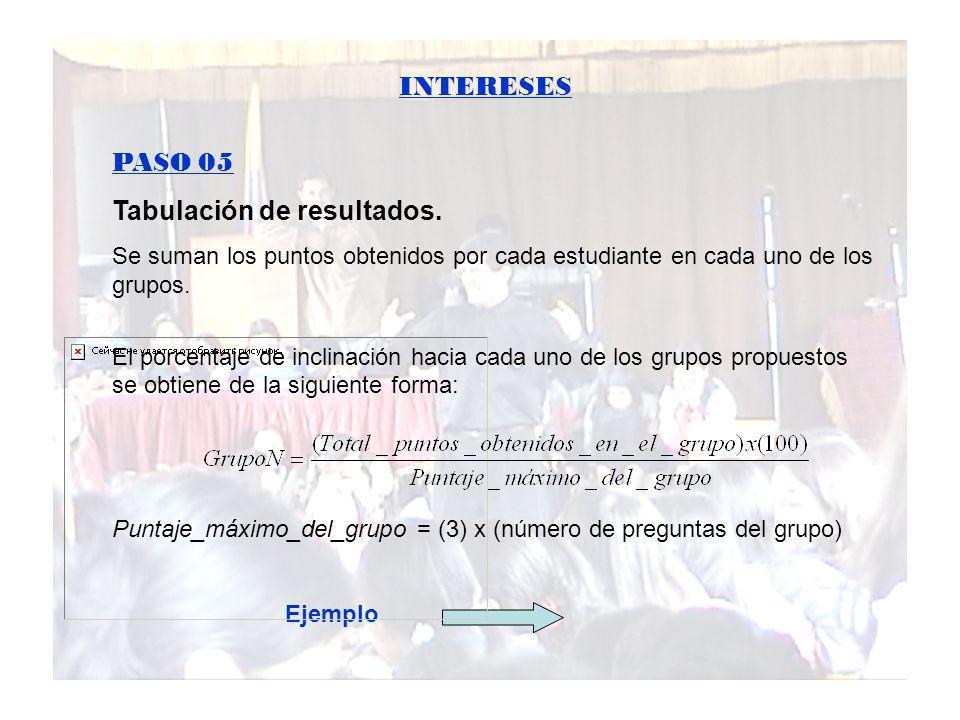 INTERESES PASO 05 Tabulación de resultados. Se suman los puntos obtenidos por cada estudiante en cada uno de los grupos. El porcentaje de inclinación