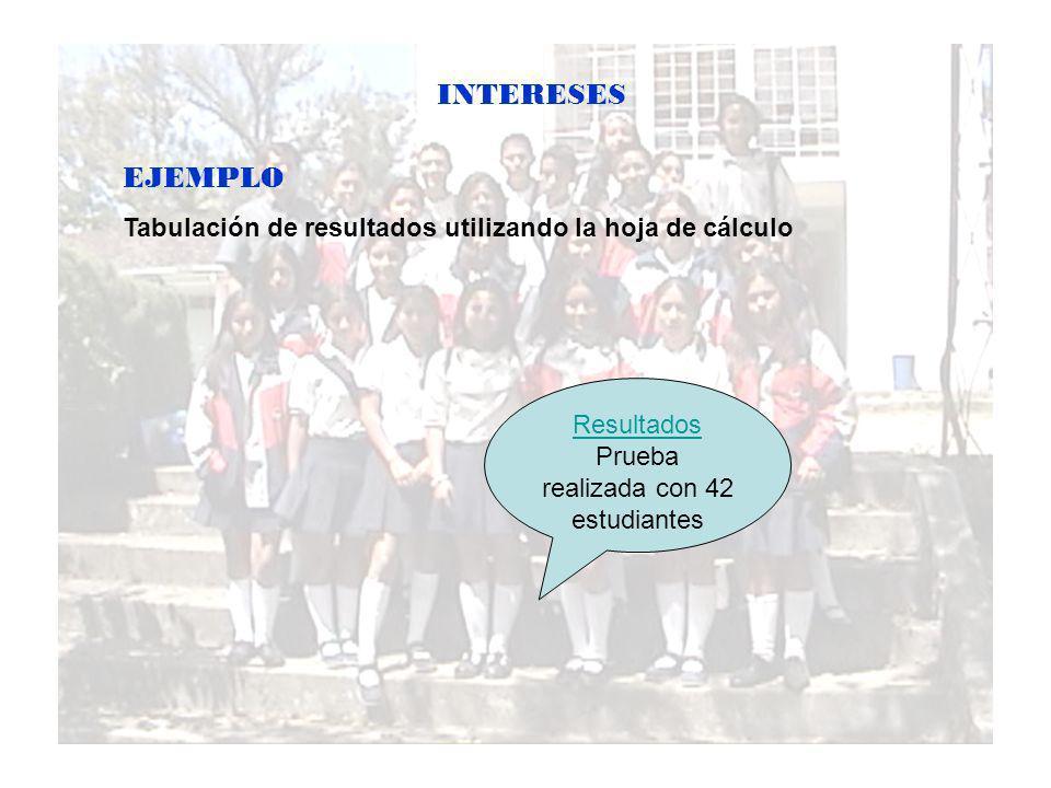 INTERESES EJEMPLO Tabulación de resultados utilizando la hoja de cálculo Resultados Prueba realizada con 42 estudiantes