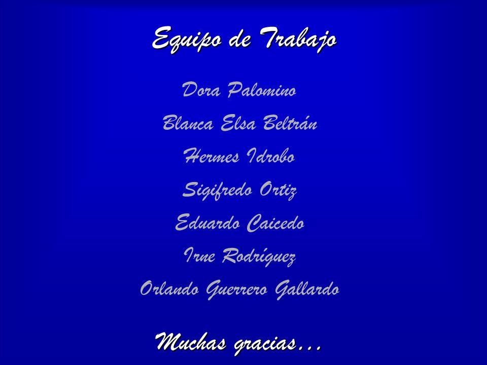 Equipo de Trabajo Dora Palomino Blanca Elsa Beltrán Hermes Idrobo Sigifredo Ortiz Eduardo Caicedo Irne Rodríguez Orlando Guerrero Gallardo Muchas grac