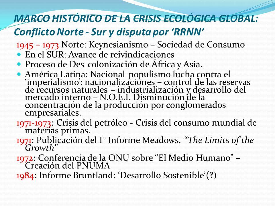 MARCO HISTÓRICO DE LA CRISIS ECOLÓGICA GLOBAL: Conflicto Norte - Sur y disputa por RRNN 1945 – 1973 Norte: Keynesianismo – Sociedad de Consumo En el S