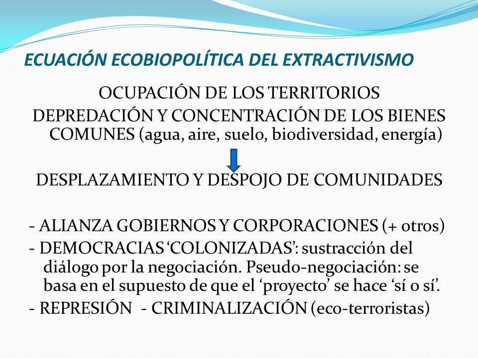 ECUACIÓN ECOBIOPOLÍTICA DEL EXTRACTIVISMO OCUPACIÓN DE LOS TERRITORIOS DEPREDACIÓN Y CONCENTRACIÓN DE LOS BIENES COMUNES (agua, aire, suelo, biodivers