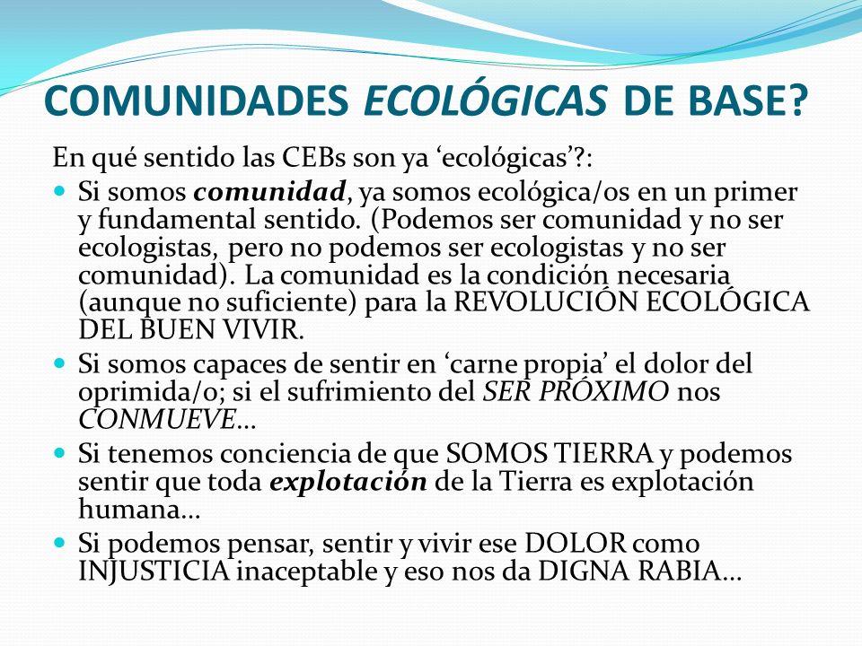 COMUNIDADES ECOLÓGICAS DE BASE? En qué sentido las CEBs son ya ecológicas?: Si somos comunidad, ya somos ecológica/os en un primer y fundamental senti