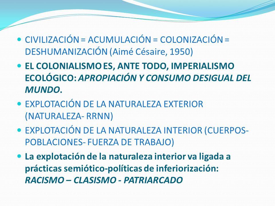 EXTRACTIVISMO = NEOCOLONIALISMO = EXPROPIACIÓN ECO-BIO-POLÍTICA Expropiación geográfica = el K dispone de los territorios Expropiación ecológica = destrucción de ecosistemas y contaminación como consecuencia de extracción de suelo, agua y energía Expropiación económica = destrucción de empleos y transferencia de renta Expropiación cultural = imposición de nuevas identidades / pueblos mineros/sojeros/pasteros/etc Expropiación epistémica = negación de saberes locales e imposición de un lenguaje tecno.racional monocultural Expropiación bio-política = degradación de los cuerpos y de los derechos