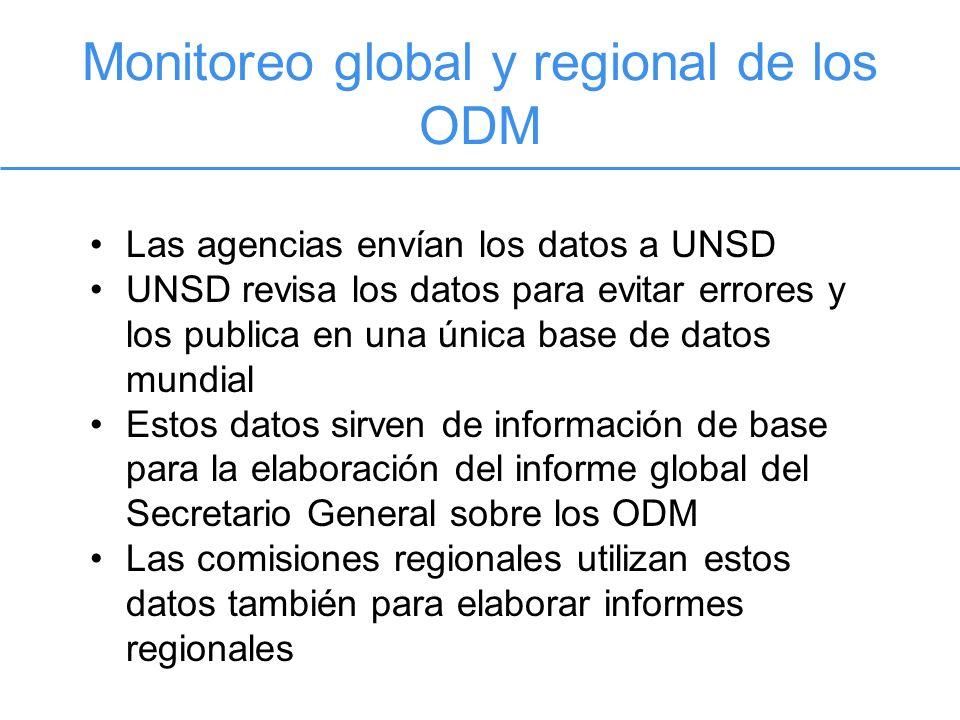Monitoreo global y regional de los ODM Las agencias envían los datos a UNSD UNSD revisa los datos para evitar errores y los publica en una única base de datos mundial Estos datos sirven de información de base para la elaboración del informe global del Secretario General sobre los ODM Las comisiones regionales utilizan estos datos también para elaborar informes regionales