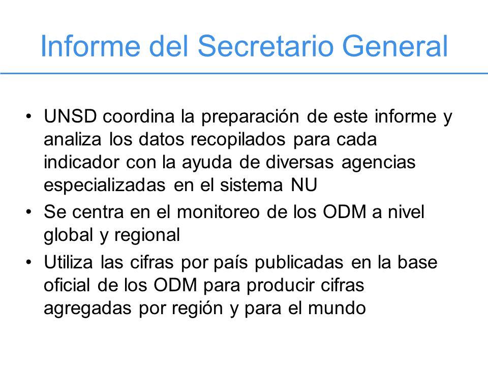 Informe del Secretario General UNSD coordina la preparación de este informe y analiza los datos recopilados para cada indicador con la ayuda de divers