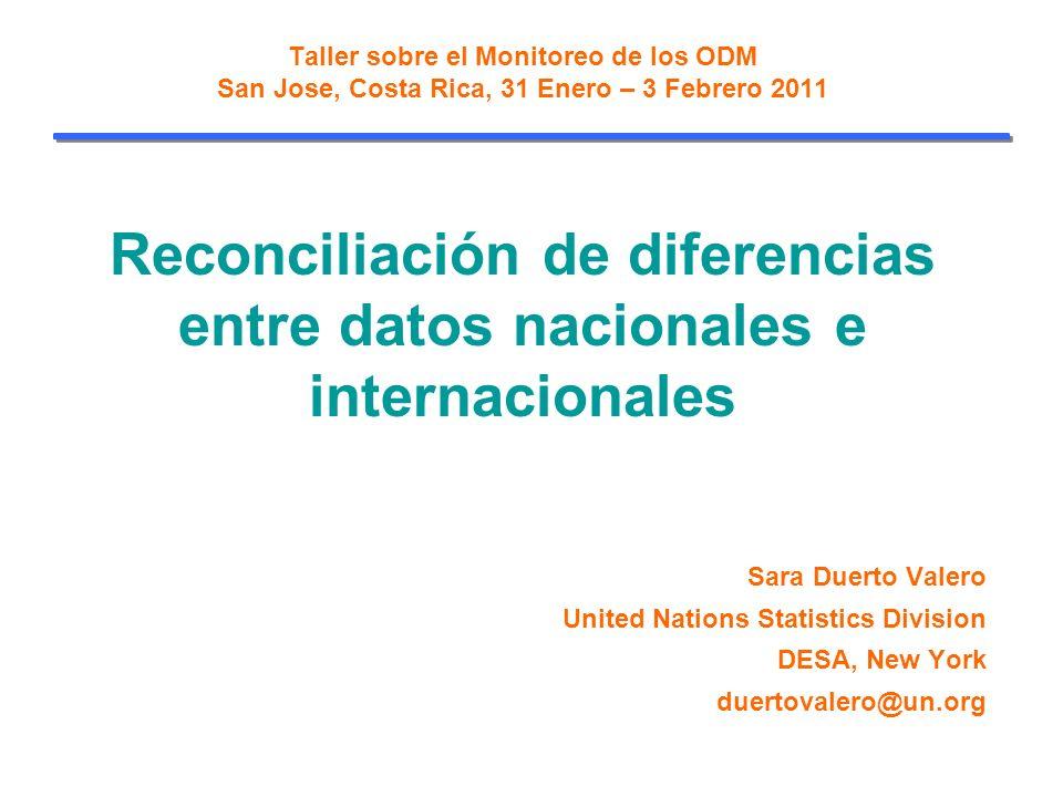 Taller sobre el Monitoreo de los ODM San Jose, Costa Rica, 31 Enero – 3 Febrero 2011 Reconciliación de diferencias entre datos nacionales e internacionales Sara Duerto Valero United Nations Statistics Division DESA, New York duertovalero@un.org