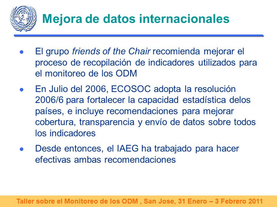 Taller sobre el Monitoreo de los ODM, San Jose, 31 Enero – 3 Febrero 2011 Mejora de datos internacionales El grupo friends of the Chair recomienda mejorar el proceso de recopilación de indicadores utilizados para el monitoreo de los ODM En Julio del 2006, ECOSOC adopta la resolución 2006/6 para fortalecer la capacidad estadística delos países, e incluye recomendaciones para mejorar cobertura, transparencia y envío de datos sobre todos los indicadores Desde entonces, el IAEG ha trabajado para hacer efectivas ambas recomendaciones