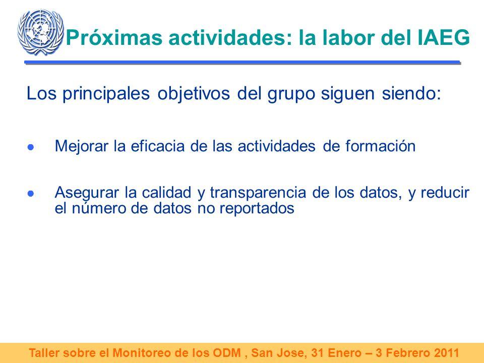Taller sobre el Monitoreo de los ODM, San Jose, 31 Enero – 3 Febrero 2011 Próximas actividades: la labor del IAEG Los principales objetivos del grupo siguen siendo: Mejorar la eficacia de las actividades de formación Asegurar la calidad y transparencia de los datos, y reducir el número de datos no reportados