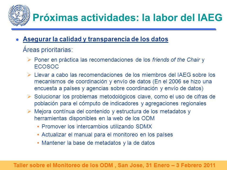 Taller sobre el Monitoreo de los ODM, San Jose, 31 Enero – 3 Febrero 2011 Próximas actividades: la labor del IAEG Asegurar la calidad y transparencia de los datos Áreas prioritarias: Poner en práctica las recomendaciones de los friends of the Chair y ECOSOC Llevar a cabo las recomendaciones de los miembros del IAEG sobre los mecanismos de coordinación y envío de datos (En el 2006 se hizo una encuesta a países y agencias sobre coordinación y envío de datos) Solucionar los problemas metodológicos clave, como el uso de cifras de población para el cómputo de indicadores y agregaciones regionales Mejora contínua del contenido y estructura de los metadatos y herramientas disponibles en la web de los ODM Promover los intercambios utilizando SDMX Actualizar el manual para el monitoreo en los países Mantener la base de metadatos y la de datos