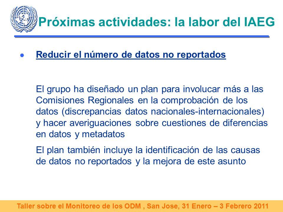 Taller sobre el Monitoreo de los ODM, San Jose, 31 Enero – 3 Febrero 2011 Próximas actividades: la labor del IAEG Reducir el número de datos no reportados El grupo ha diseñado un plan para involucar más a las Comisiones Regionales en la comprobación de los datos (discrepancias datos nacionales-internacionales) y hacer averiguaciones sobre cuestiones de diferencias en datos y metadatos El plan también incluye la identificación de las causas de datos no reportados y la mejora de este asunto