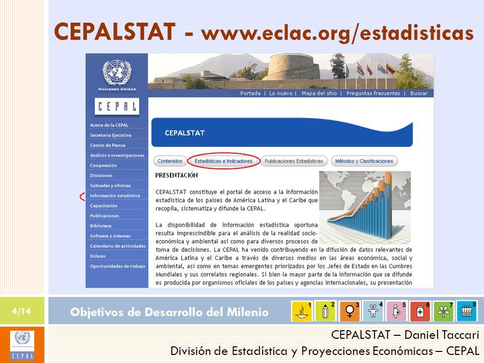 Objetivos de Desarrollo del Milenio 4/14 CEPALSTAT – Daniel Taccari División de Estadística y Proyecciones Económicas – CEPAL CEPALSTAT - www.eclac.org/estadisticas