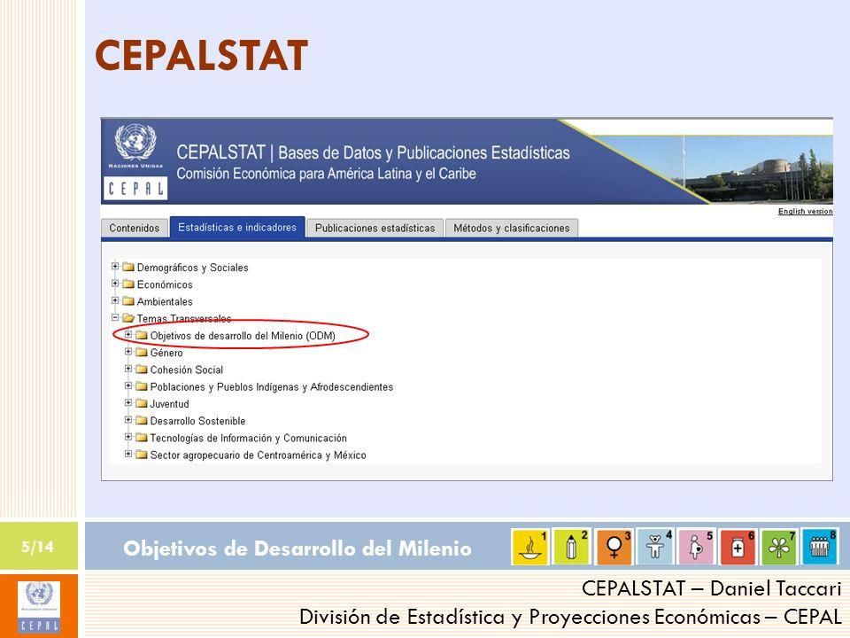Objetivos de Desarrollo del Milenio 5/14 CEPALSTAT – Daniel Taccari División de Estadística y Proyecciones Económicas – CEPAL CEPALSTAT