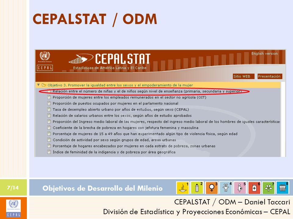 Objetivos de Desarrollo del Milenio 7/14 CEPALSTAT / ODM – Daniel Taccari División de Estadística y Proyecciones Económicas – CEPAL CEPALSTAT / ODM