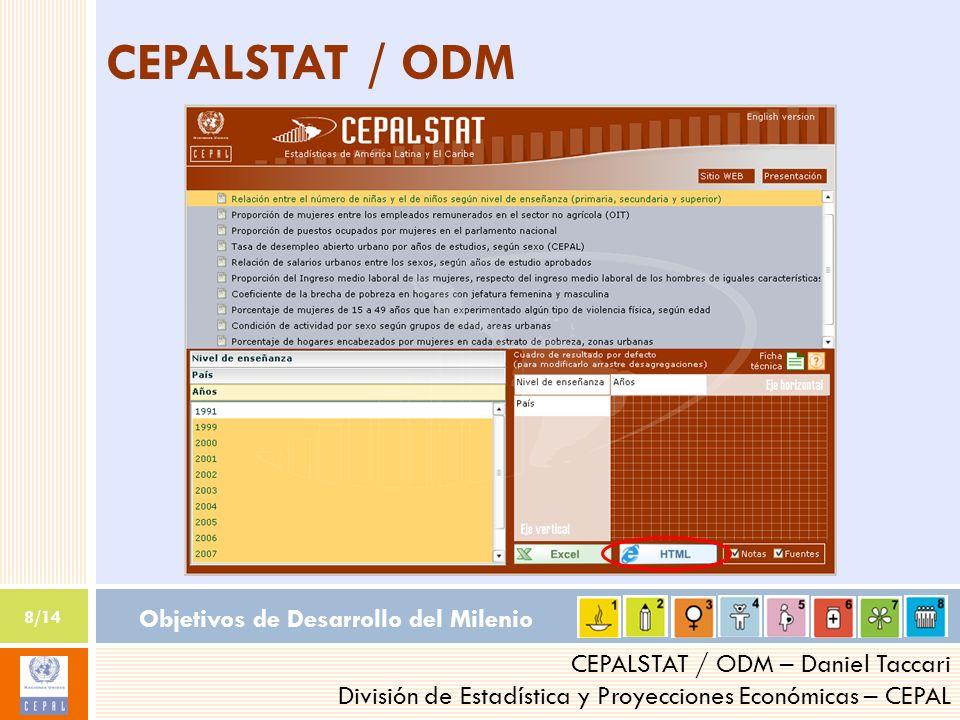 Objetivos de Desarrollo del Milenio 8/14 CEPALSTAT / ODM – Daniel Taccari División de Estadística y Proyecciones Económicas – CEPAL CEPALSTAT / ODM