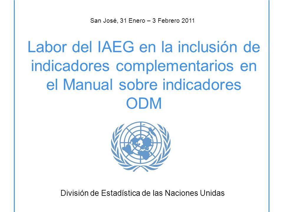 Labor del IAEG en la inclusión de indicadores complementarios en el Manual sobre indicadores ODM División de Estadística de las Naciones Unidas San José, 31 Enero – 3 Febrero 2011
