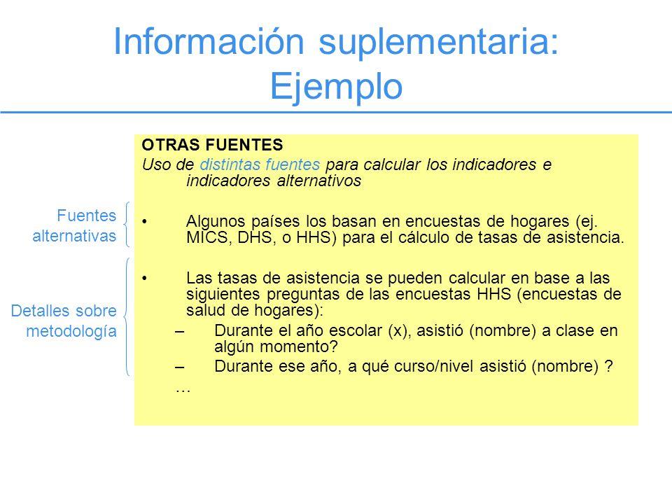Información suplementaria: Ejemplo OTRAS FUENTES Uso de distintas fuentes para calcular los indicadores e indicadores alternativos Algunos países los basan en encuestas de hogares (ej.