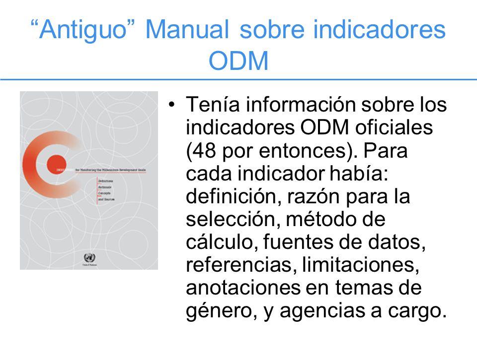 Antiguo Manual sobre indicadores ODM Tenía información sobre los indicadores ODM oficiales (48 por entonces).