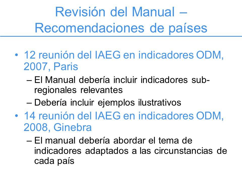 Revisión del Manual – Recomendaciones de países 12 reunión del IAEG en indicadores ODM, 2007, Paris –El Manual debería incluir indicadores sub- regionales relevantes –Debería incluir ejemplos ilustrativos 14 reunión del IAEG en indicadores ODM, 2008, Ginebra –El manual debería abordar el tema de indicadores adaptados a las circunstancias de cada país