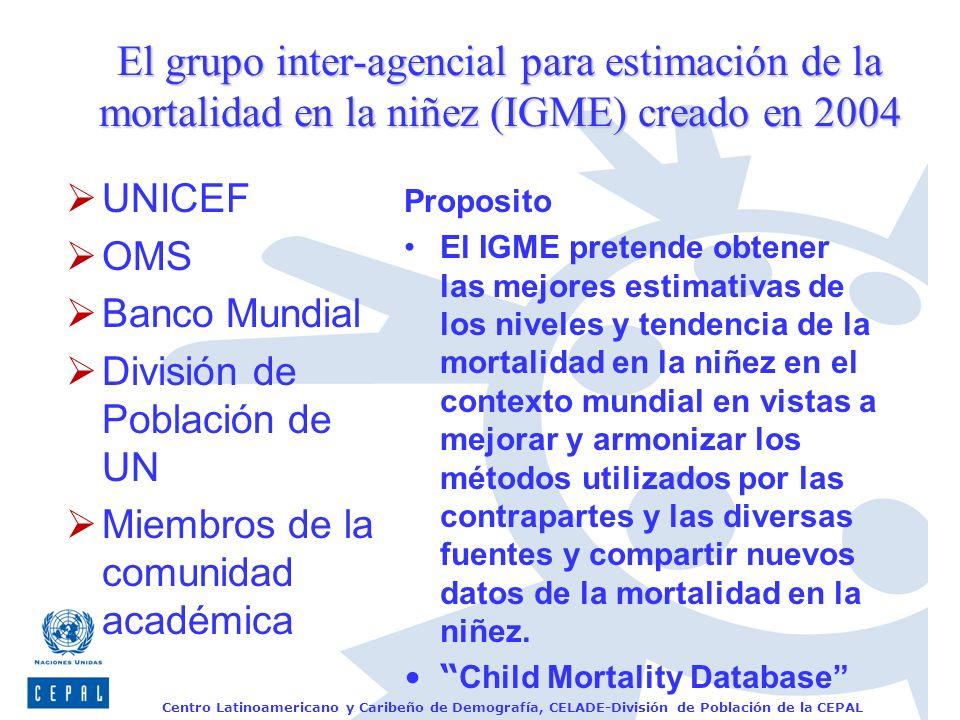 Centro Latinoamericano y Caribeño de Demografía, CELADE-División de Población de la CEPAL El grupo inter-agencial para estimación de la mortalidad en