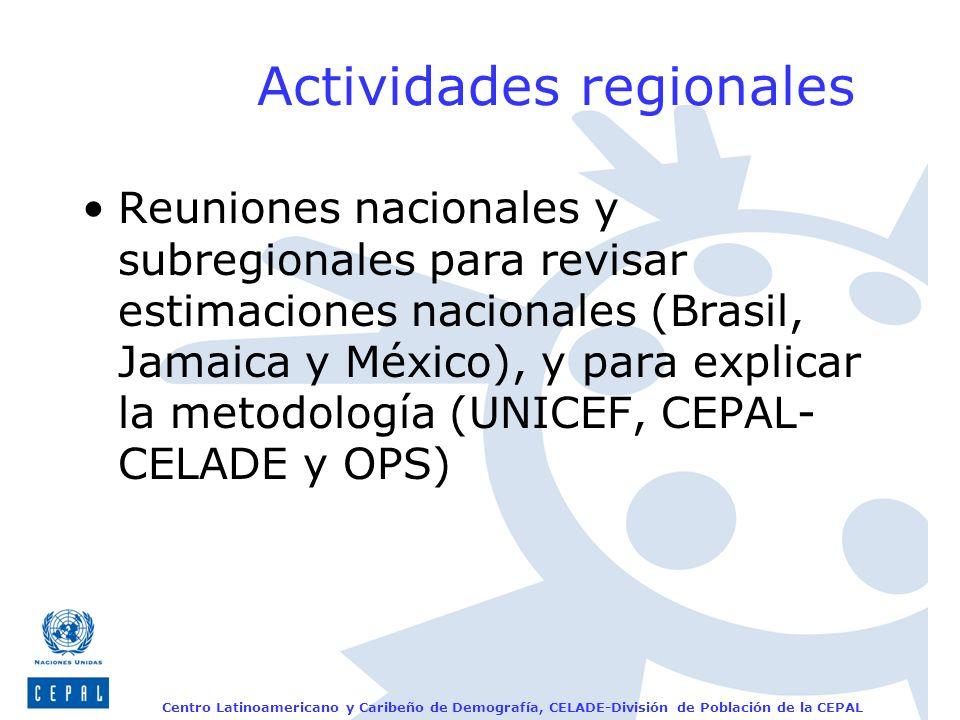 Centro Latinoamericano y Caribeño de Demografía, CELADE-División de Población de la CEPAL Actividades regionales Reuniones nacionales y subregionales